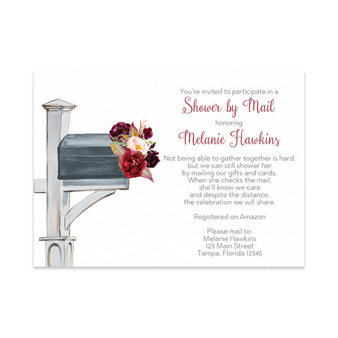 Autumn Floral Bridal Shower By Mail Invitation