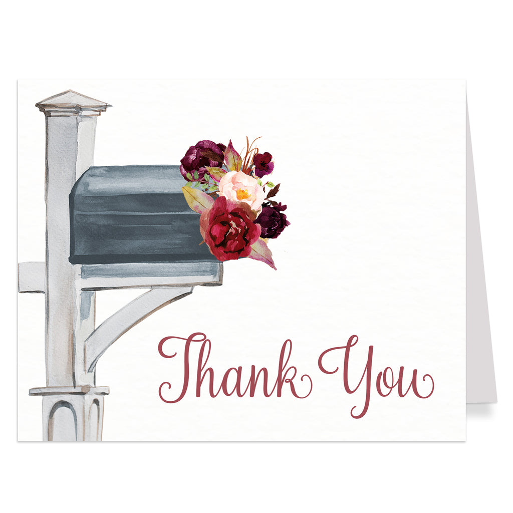 Autumn Floral Bridal Shower By Mail Thank You Card