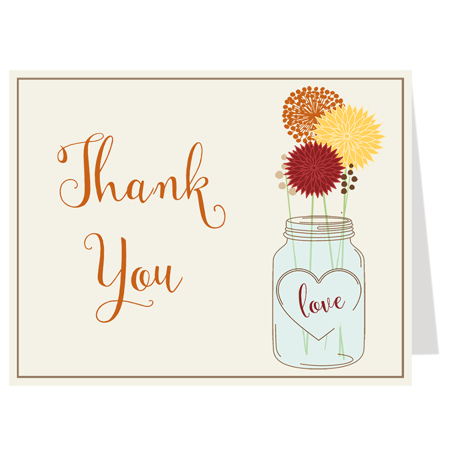 Mason Jar Autumn Breeze Thank You Card