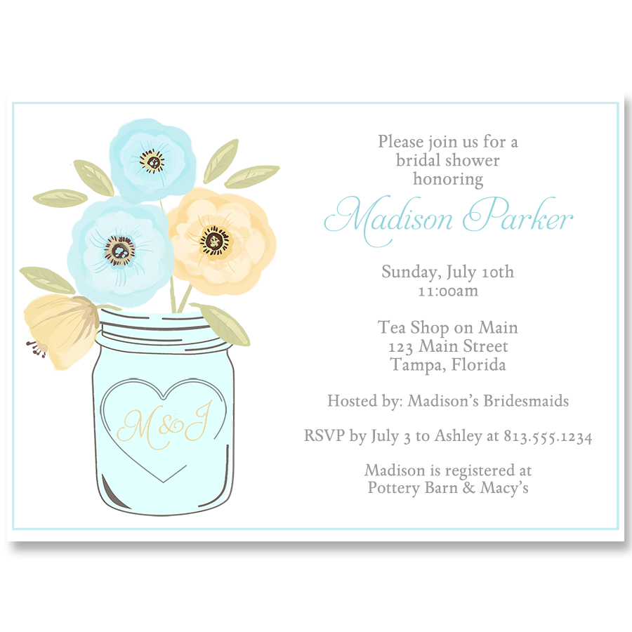 Mason Jar, Blue and Yellow, Bridal Shower Invitation