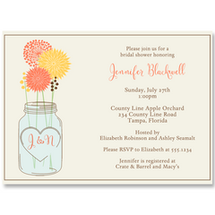 Mason Jar Coral and Yellow Bridal Shower Invitation