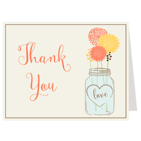 Mason Jar Coral and Yellow Thank You Card