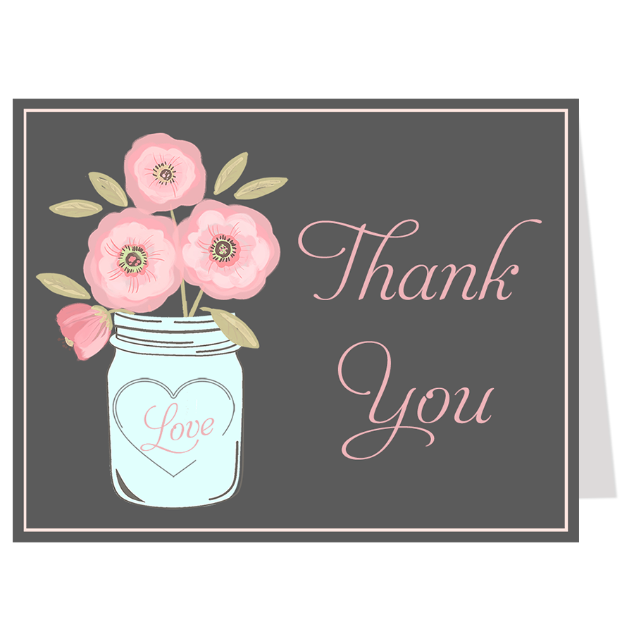 Mason Jar Pink Blooms, Gray, Thank You Card