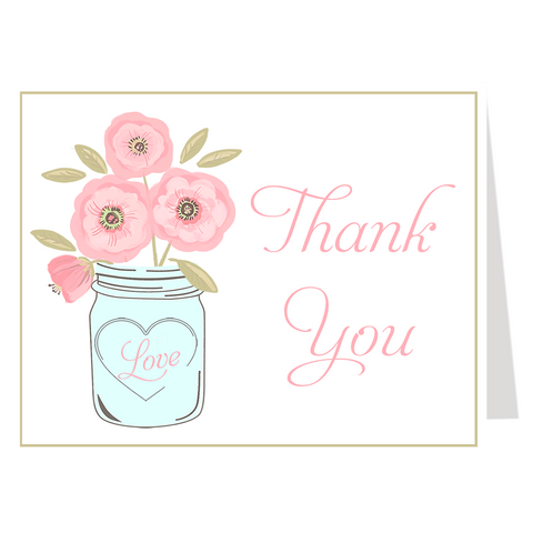 Mason Jar Pink Blooms, Thank You Card