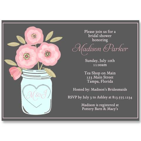 Mason Jar, Pink Blooms, Gray, Bridal Shower Invitation