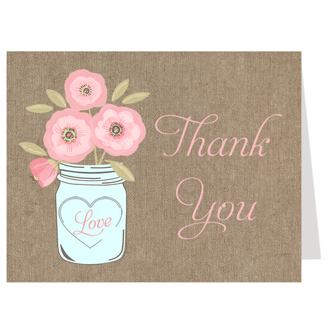 Mason Jar Pink Blooms, Burlap, Thank You Card
