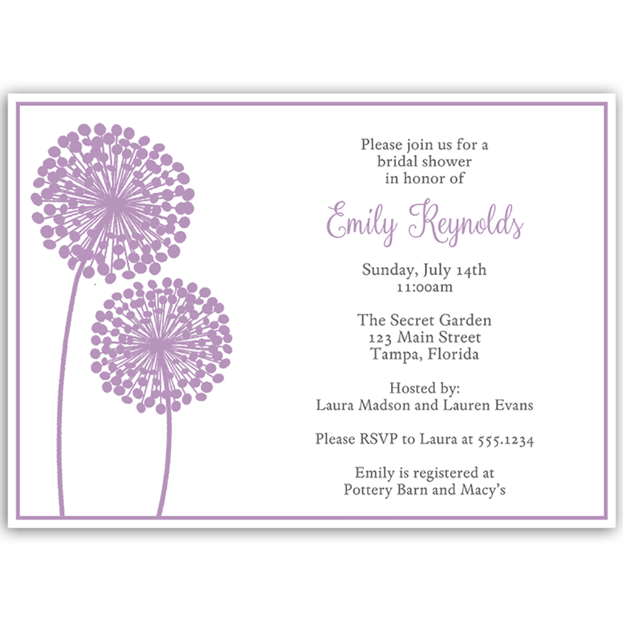 Modern Floral Purple Bridal Shower Invitation