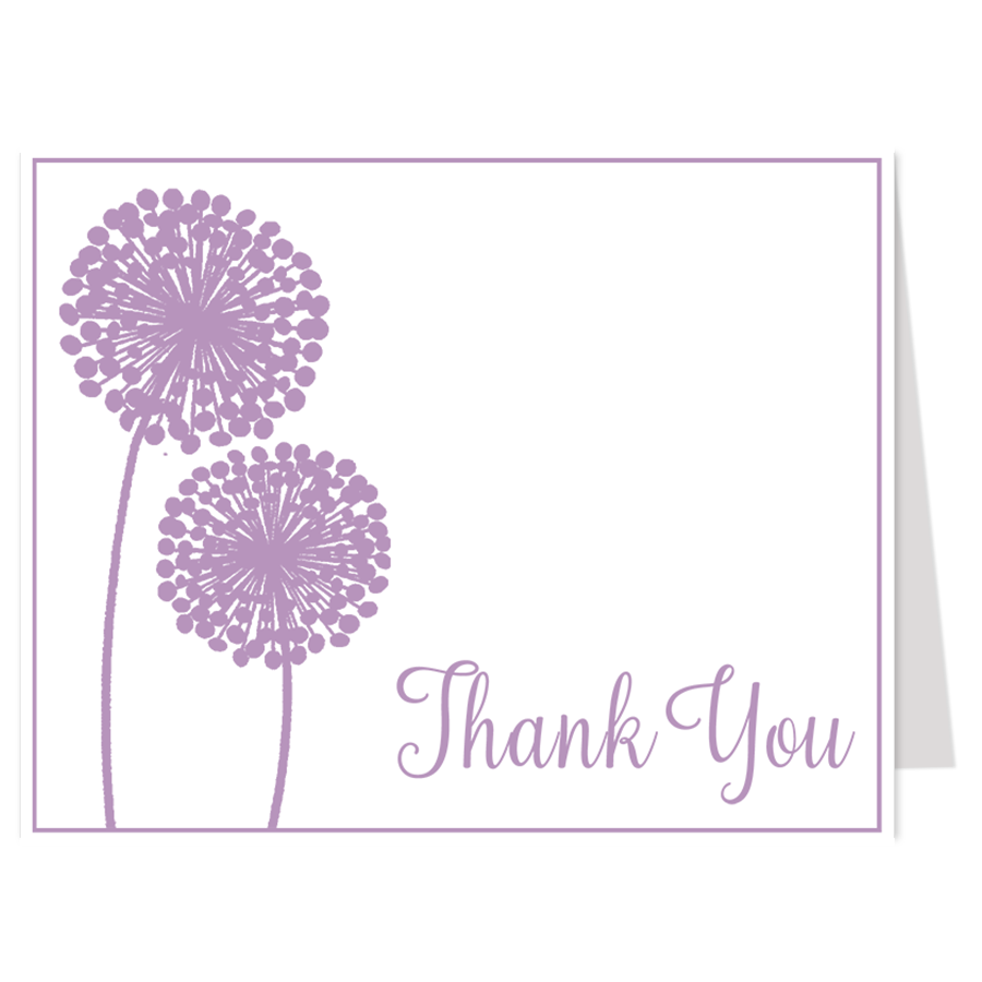 Modern Floral Purple Thank You Card