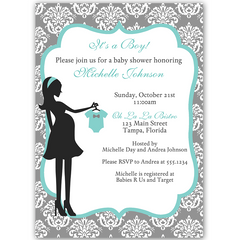 Modern Mom Blue Baby Shower Invitation