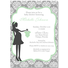 Modern Mom Mint Baby Shower Invitation
