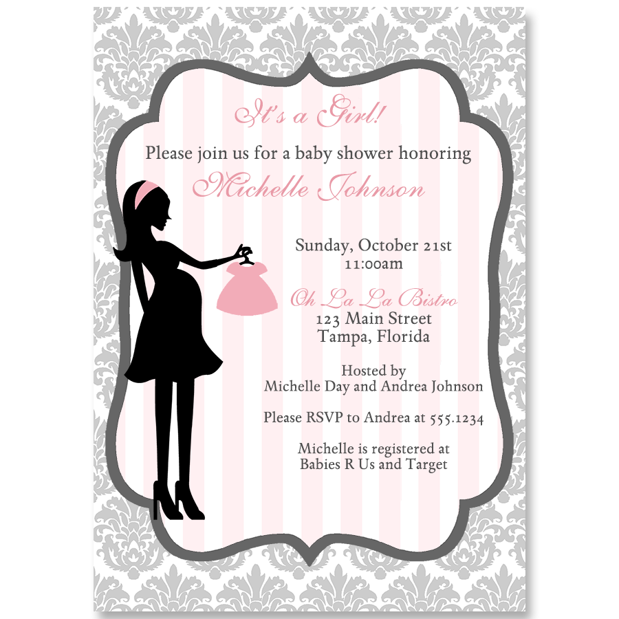 Modern mom pink baby shower invitation the invite lady modern mom pink baby shower invitation filmwisefo