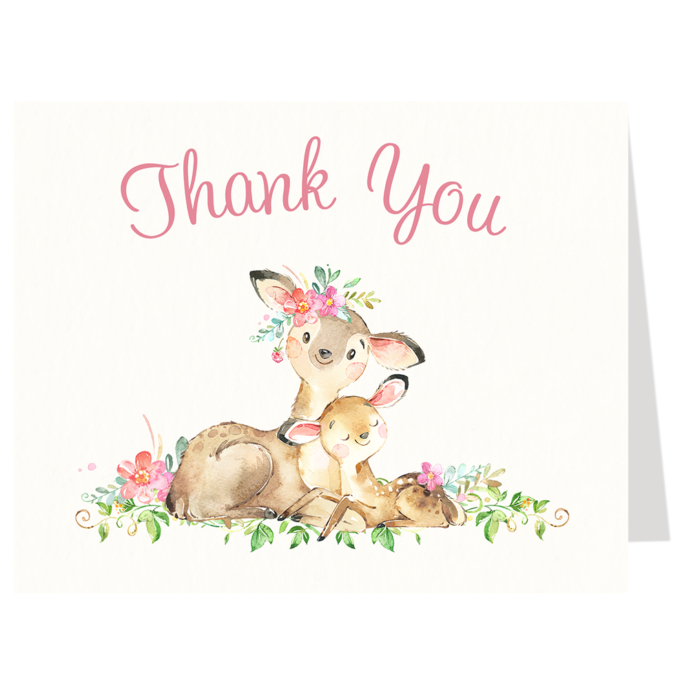 Mommy And Me Deer Baby Shower Thank You Card