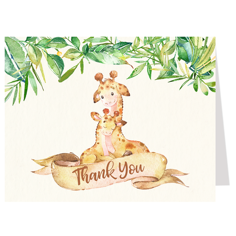 Mommy And Me Giraffe Thank You Card