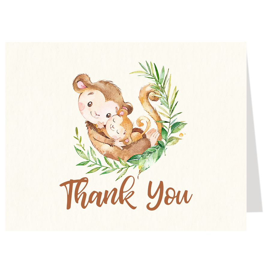 Mommy and Me Monkey Baby Shower Thank You Card