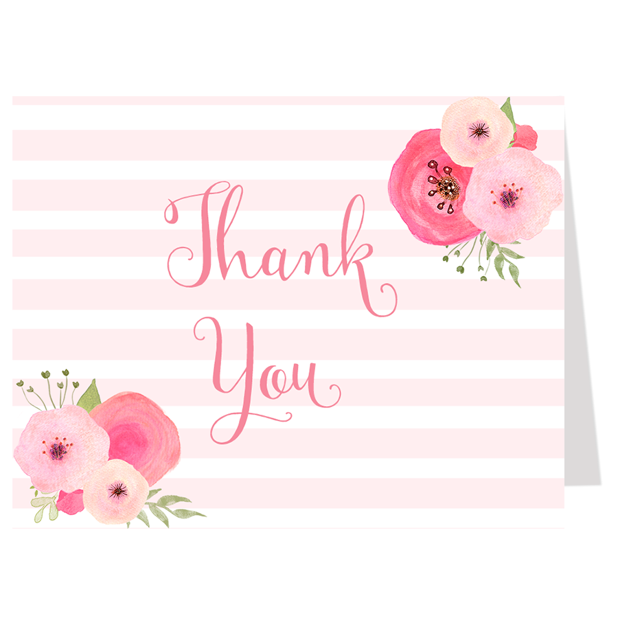 Monograms and Mimosas Pink Thank You Card