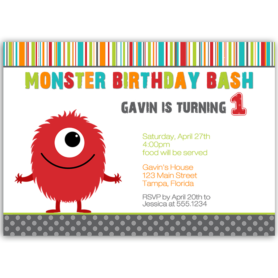 Monster Bash Boy Birthday Party Invitation The Invite Lady