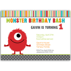 Monster Bash Boy Birthday Party Invitation