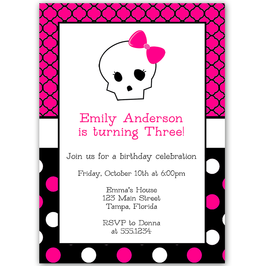 Monster Skull Girl Birthday Party Invitation