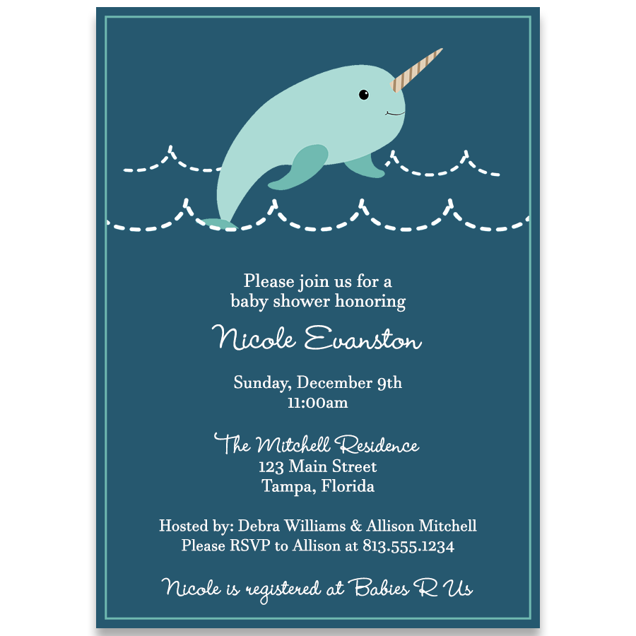 Narwhal Navy Baby Shower Invitation