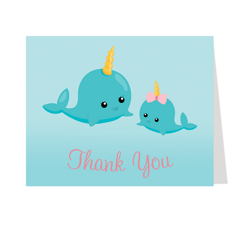 Narwhal Pink Thank You Card