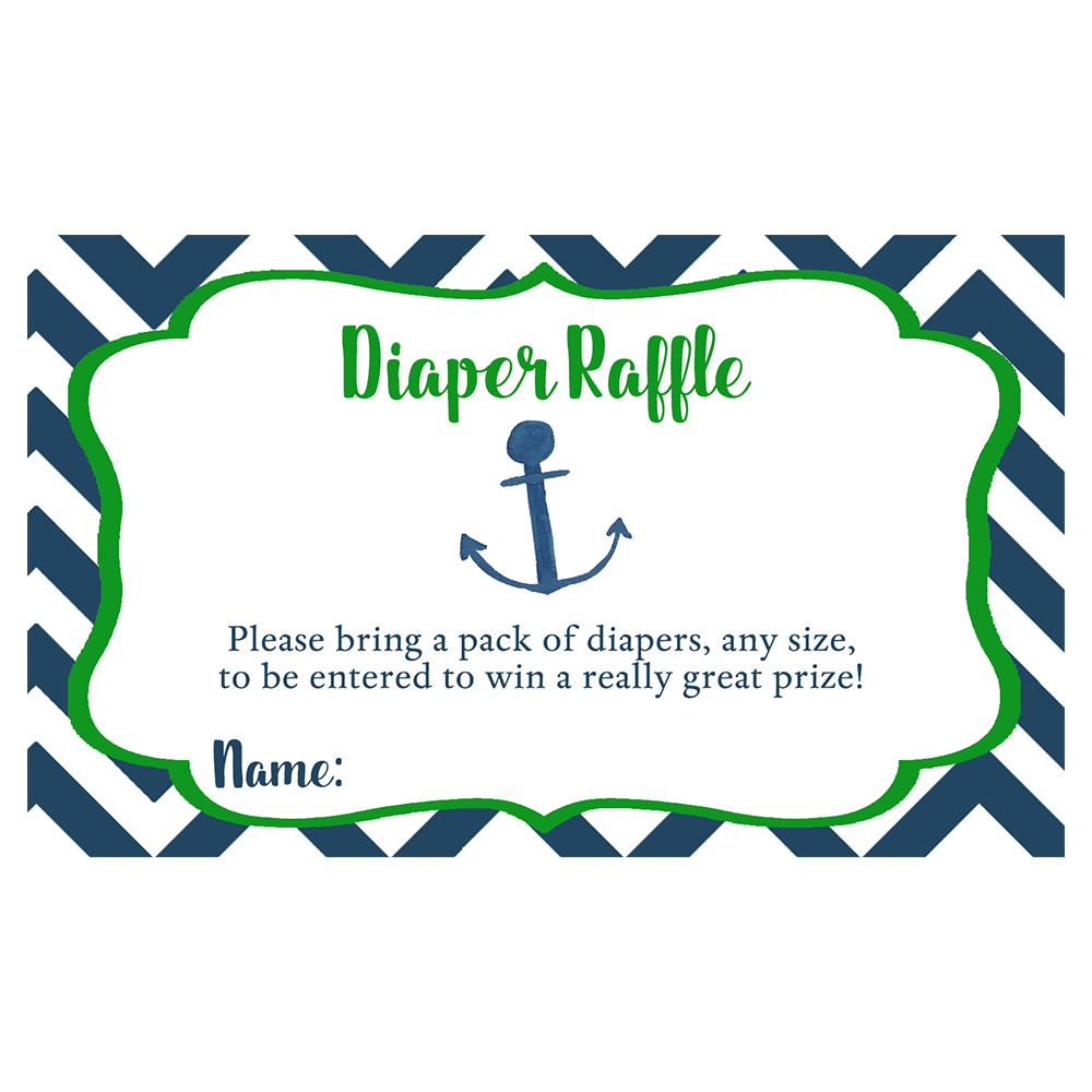Nautical Chevron Green Diaper Raffle Ticket