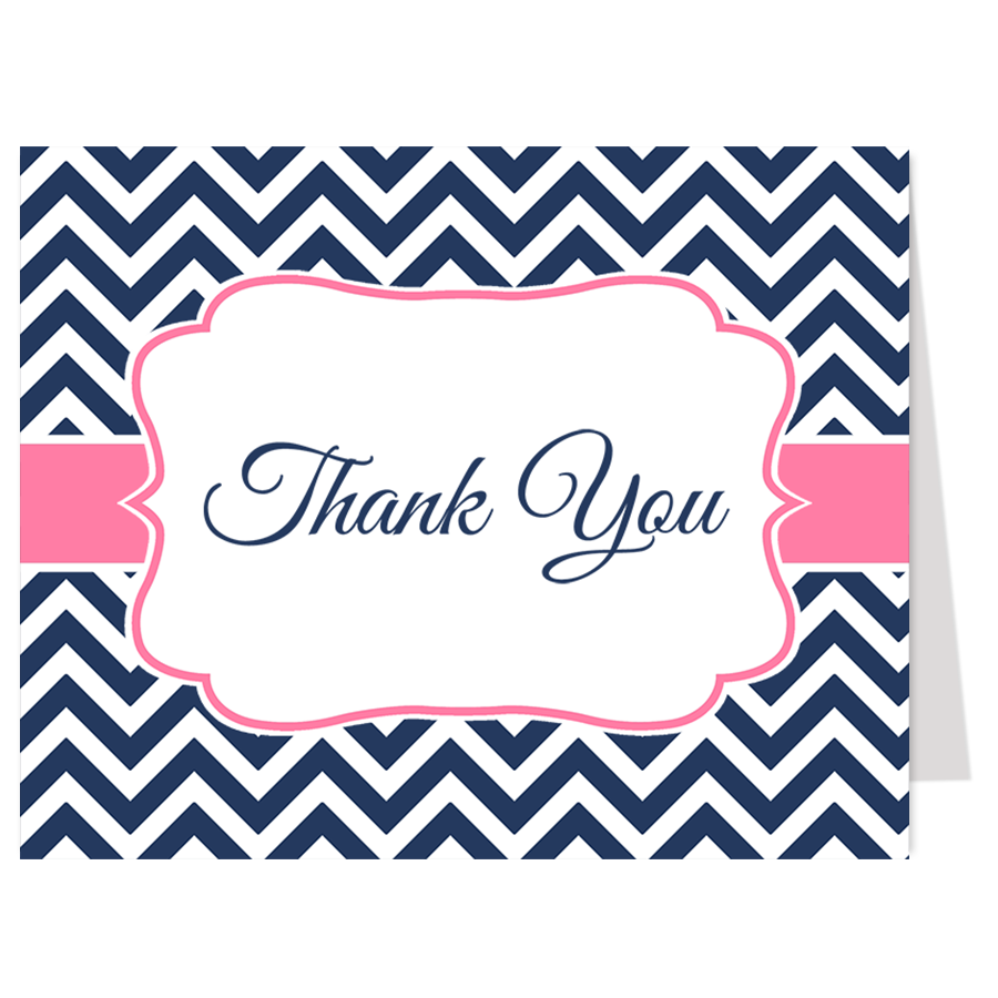 Nautical Chevron Pink and Navy Thank You Card