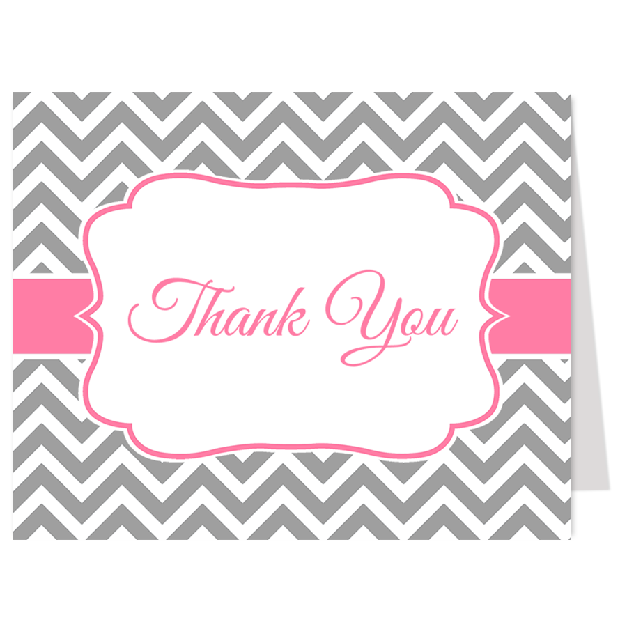Nautical Chevron Pink and Gray Thank You Card