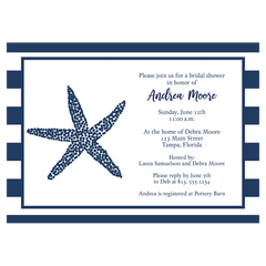 Nautical Starfish Navy and White Bridal Shower Invitation