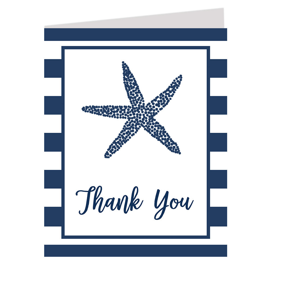 Nautical Starfish Navy and White Thank You Card