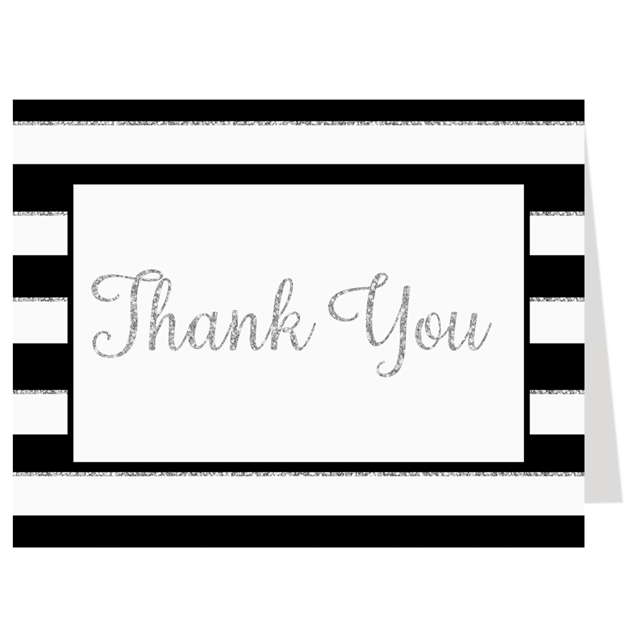 New Year, New Baby Boy Silver Thank You Card