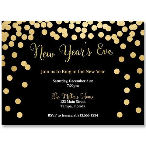 New Year's Eve Black and Gold Invitation