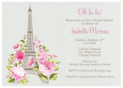 Paris Love Story Bridal Shower Invitation