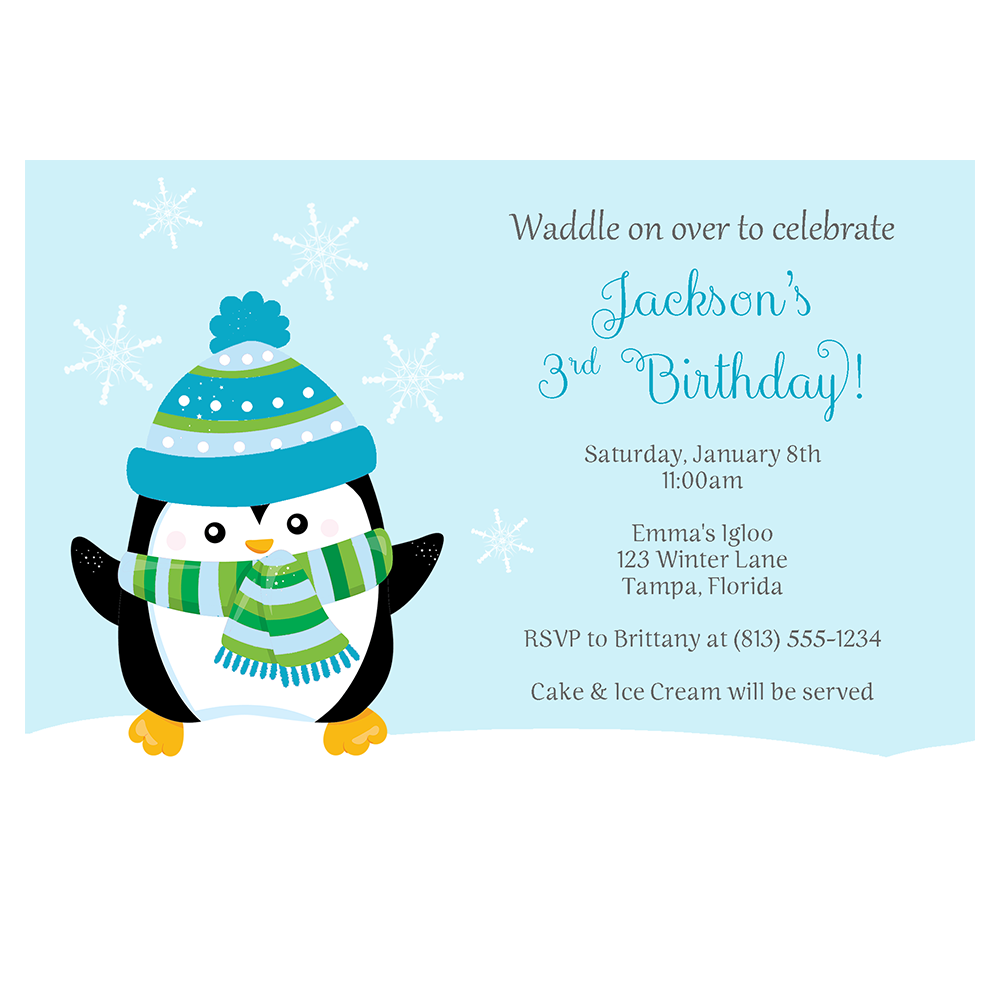 Penguin Boy Birthday Party Invitation