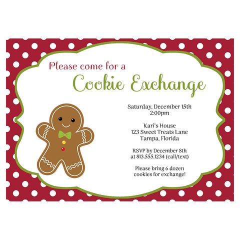 Polka Dot Christmas Cookie Exchange Invitation