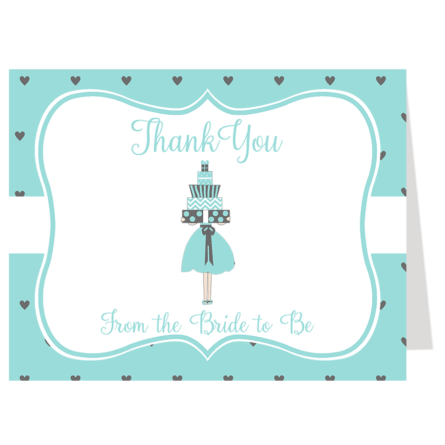 Lots of Love Aqua Thank You Card