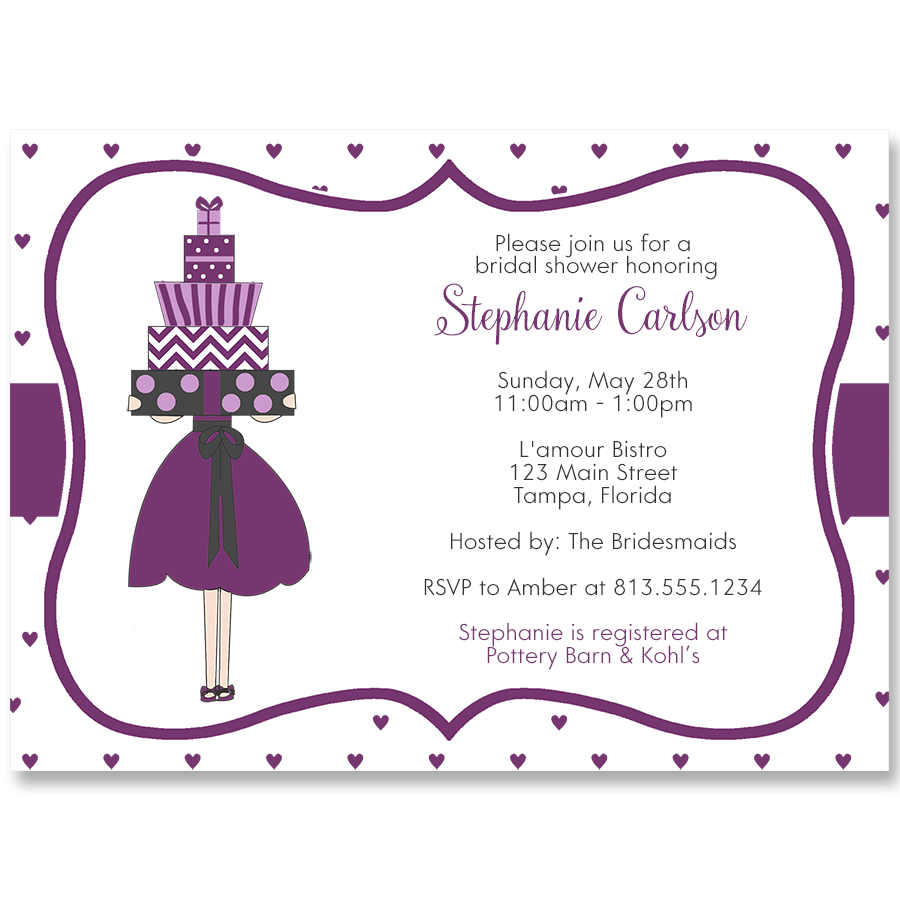 Lots of Love Purple Bridal Shower Invitation