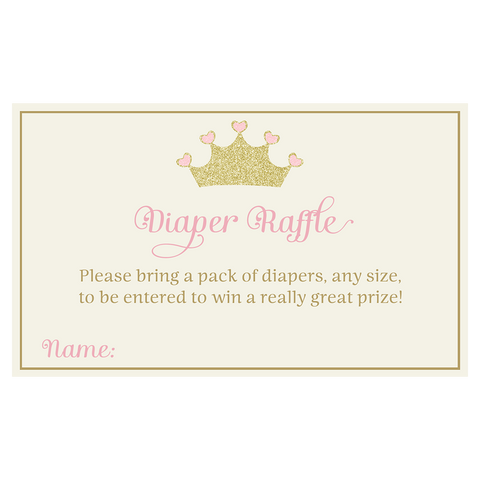 Pretty Princess Diaper Raffle Ticket