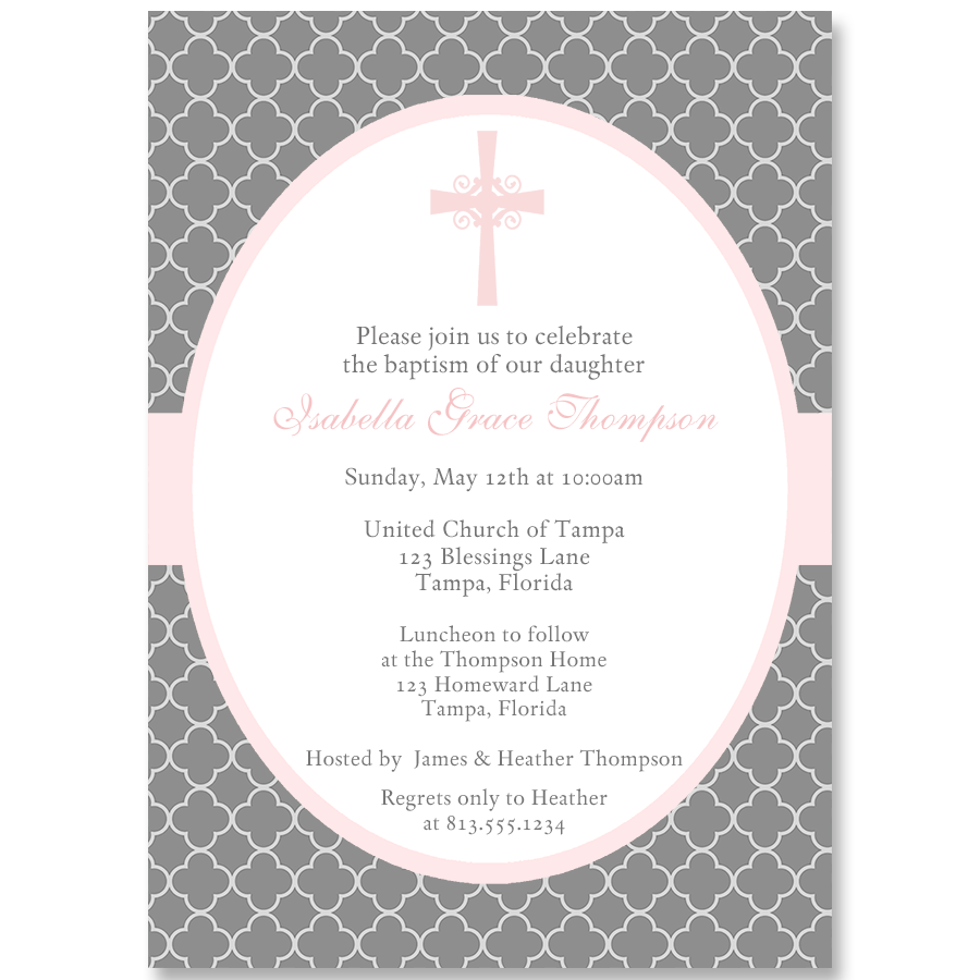 Quatrefoil Cross Baptism Invitation