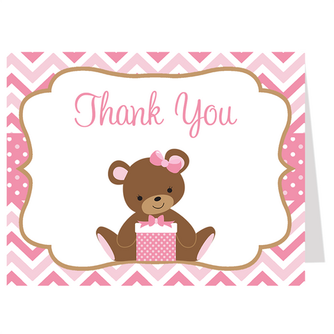 Chevron Teddy Bear Pink Thank You Card