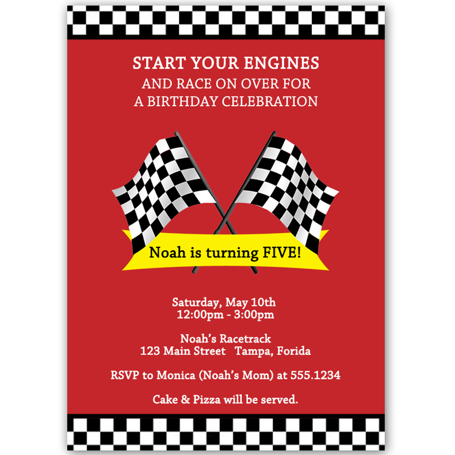 Race Car Birthday Party Invitation – The Invite Lady