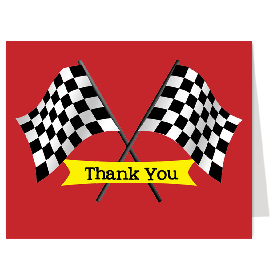 Race Car Thank You Card