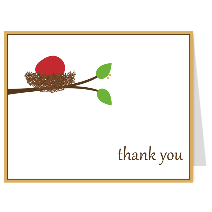 Red Egg and Ginger Party Thank You Card