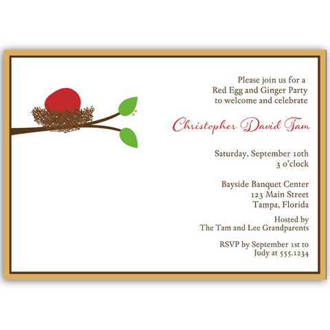 Baby Boy Red Egg and Ginger Party Invitation