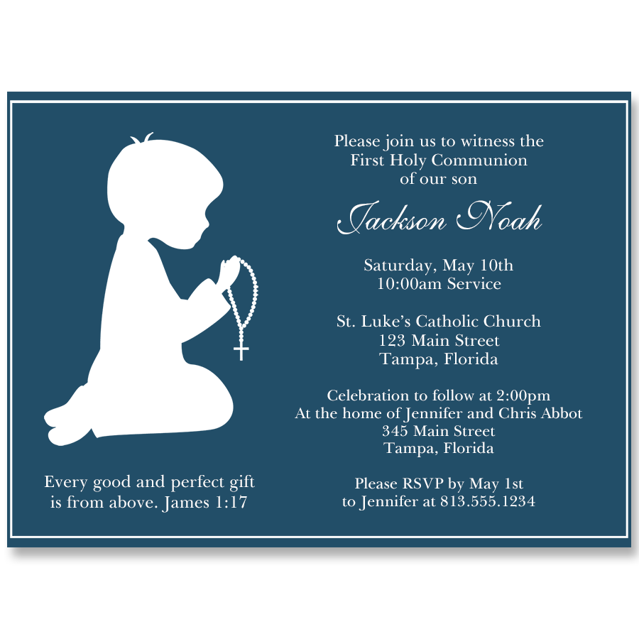 Praying Boy Silhouette Communion Navy Invitation