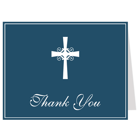 Silhouette Cross Navy Thank You Card