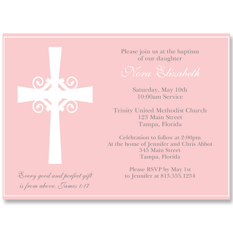 Silhouette Cross Pink Invitation