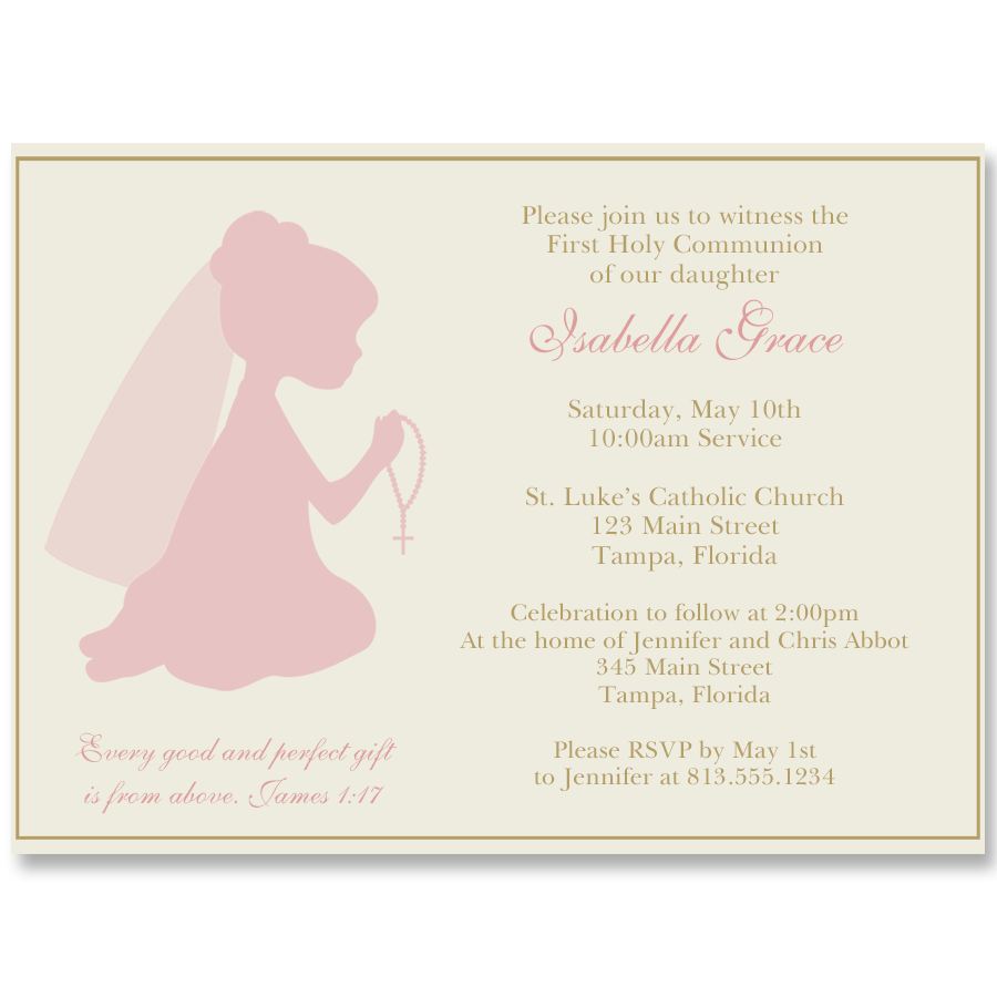 Praying Girl Silhouette Communion Pink and Gold Invitation