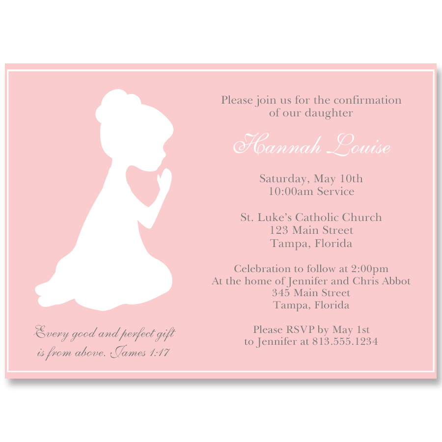 Praying Girl Silhouette Confirmation Pink Invitation