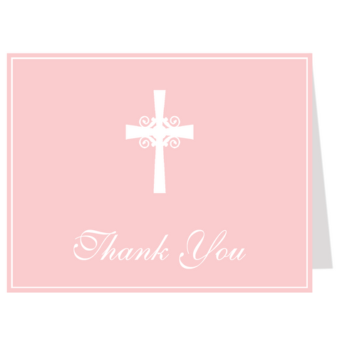 Silhouette Cross Pink Thank You Card