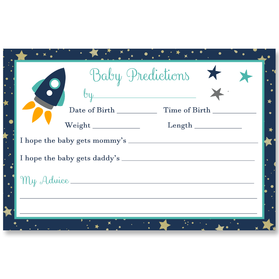 Rocket Ship, Aqua, Predictions Card
